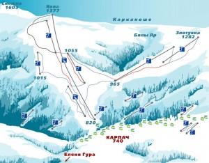 Схема горнолыжного спуска в Карпаче