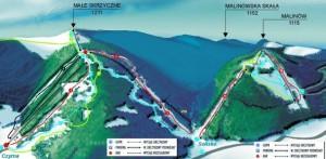 Схема горнолыжного спуска в Щирке
